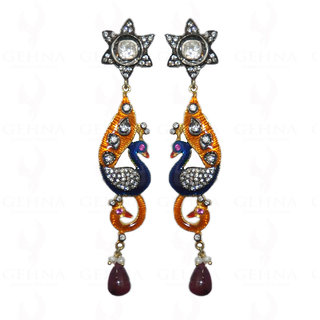 Ruby & Tourmaline Gemstone Earrings In 925 Sterling Silver
