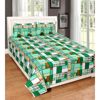 AMAYRA Cotton Double Bed Sheets With 2 Pillow Covers, Green Check