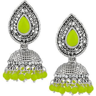 JewelMaze Green Beads And Stone Silver Plated Jhumki Earrings
