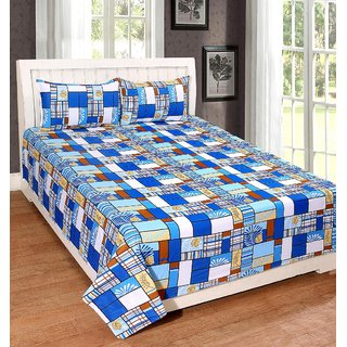 AMAYRA Cotton Double Bed Sheets With 2 Pillow Covers, Blue Check