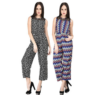 Westrobe Womens Black Floral and Zig Zag Printed Jumpsuit Combo