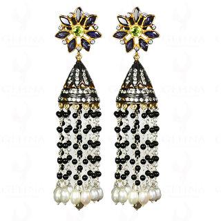 Pearl, Iolite, Peridot & Spinel Gemstone Earrings in 925 Sterling Silver