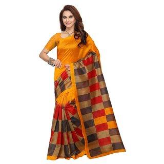 Bano Tradelink Multicolor Art Silk Geometric Saree With Blouse