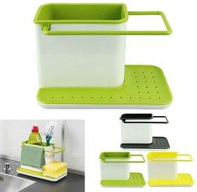 Organized Stand Shelf-draining Sink Tidy Cleaning Caddy Bath Accessories Sink Sponge Holder  (Plastic)