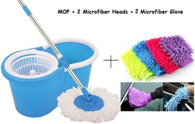 Easy Mop Floor Cleaning Mop For Home Kitchen Free 2 Microfiber Head + 2 Microfiber Glove