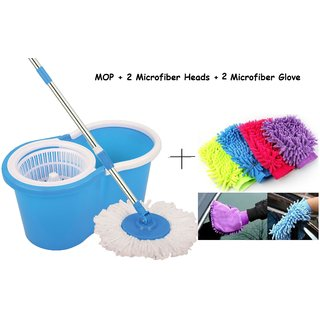 Easy Mop Floor Cleaning Mop For Home Kitchen Free 2 Microfiber Head 2 Microfiber Glove