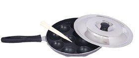 BMS Non-Stick 12-Cavity Single Handle Appam Patra with lid, Grey
