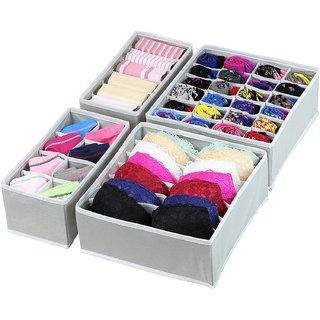 House of Quirk Set of 4 Foldable Storage Box Non-Smell Drawer Organizer Closet Storage for Socks Bra Tie Scarfs - (GREY)
