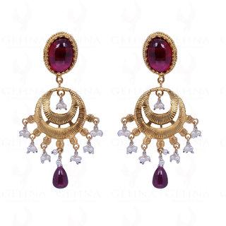 Pearl & Ruby Gemstone Bead Earrings In 925 Sterling Silver