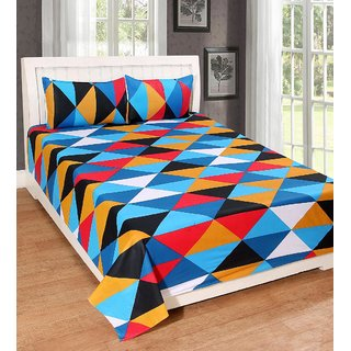 AMAYRA Cotton Double Bed Sheet with 2 Pillow Covers, Multi Triangle, Platinum Series