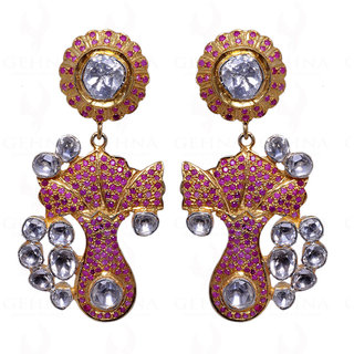 Ruby & White Sapphire Studded Earrings In 925 Sterling Silver