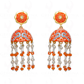 Pearl & Carnelian Beads Knotted Earring With Multi-Color Enamel Work