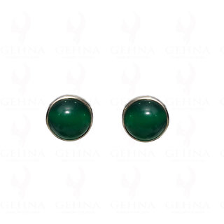 green Onyx Gemstone Stud Earring Made In.925 Sterling Silver