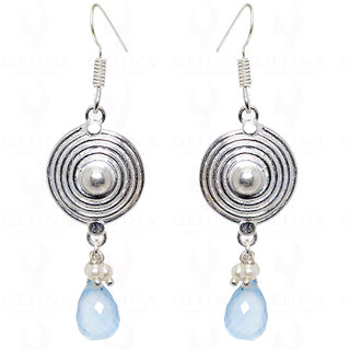 blue chalcedony tear drop & pearl earrings in .925 sterling silver