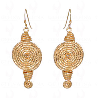 Gold Rhodium Polished Spiral Shape Earrings In 925 Sterling Silver