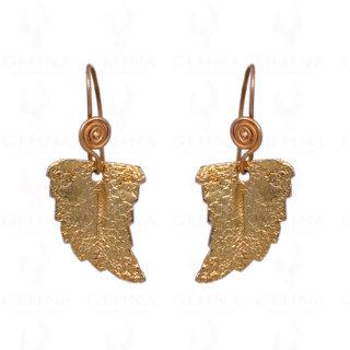 Half Leaf Earrings In 925 Sterling Silver & Yellow Rhodium