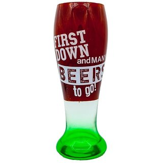 The Crazy Me First Down and many Beers to Go Beer Glass