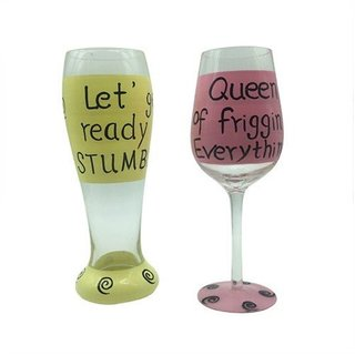The Crazy Me Queen of Everything and Ready to Stumble says Beer and Wine Glass Set