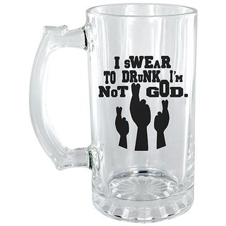 The Crazy Me I Swear to God Im Not God Clear Beer Mug
