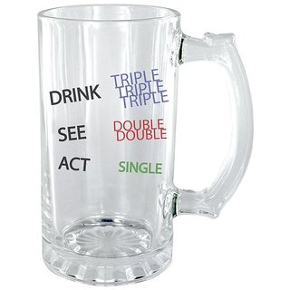 The Crazy Me Drink Triple Act Single Clear Beer Mug