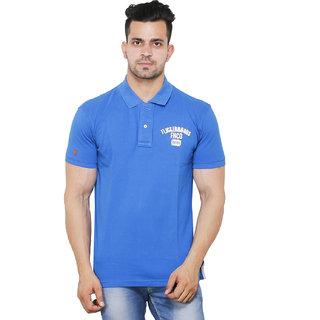 Flicker Hoods Men's Sky Blue Plain Regular Collar Tshirt