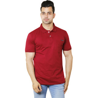 Flicker Hoods Men's Maroon Plain Regular Collar Tshirt