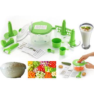 DarkPyro's 10 in 1 Multi Functional Kitchen Box Includes Dough Maker + Vegetable Cutter+Beater(Churner) + 6 in 1 Slicer