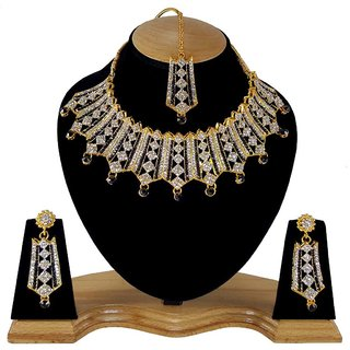 Gold Plated Zerconic Kundan Multiple layered Handmade Necklace Jewelry Set