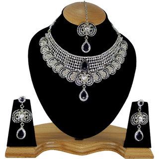 Stylish Party wear Silver Plated Kundan Necklace Set Jewelry Earrings  Tikka