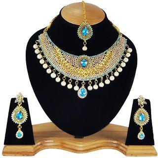 Pearl Stylish Partywear Gold Plated Kundan Designer Necklace Set Earrings