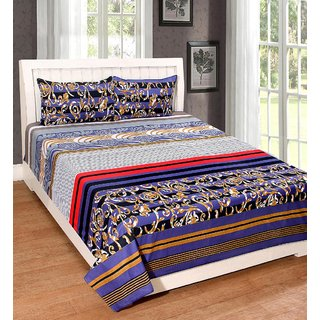 AMAYRA Cotton Double Bed Sheet with 2 Pillow Covers, Platinum Series
