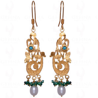 Pearl, Emerald & Turquoise Gemstone Earrings In 925 Sterling Silver
