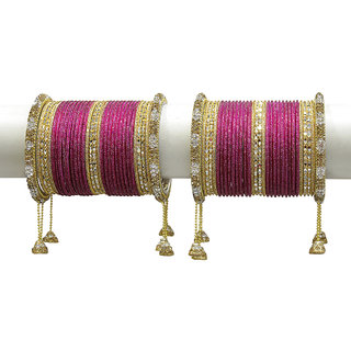 Much More Gold Plated Pink Alloy Bangles For Women