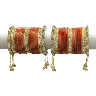 Much More Gold Plated Orange Alloy Bangles For Women