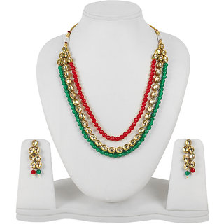 Much More Gold Plated Green Alloy Necklace Set For Women