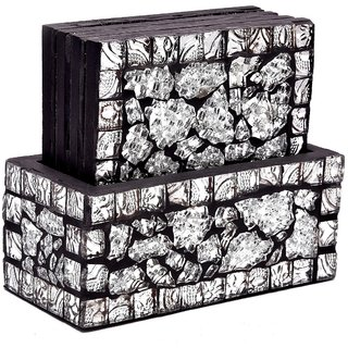 Crafted Ideas Wooden Coaster 4 Piece Set In Wooden Box With Glass Mosaic Work On Top (Individual Coaster Size 4X4 )