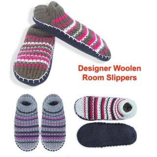 Designer Woolen Bedroom Slippers Cum Socks With Sole Assorted Colors Freesize