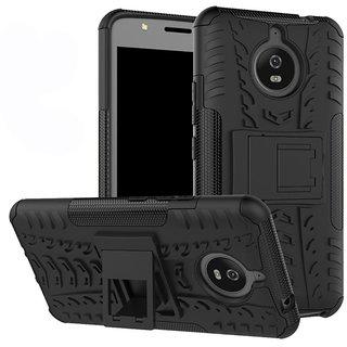 Shockproof Motorola Moto E4 Plus 5.5 inch Hybrid Kickstand Back Case Defender Cover -BLACK