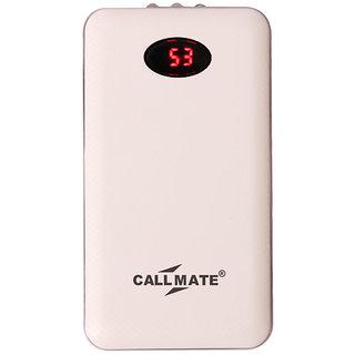 Callmate Dual USB With LED Light A6 Power Bank 10000 mAh - White