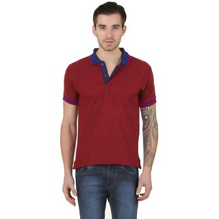 Concepts Maroon Cotton Blend Polo Tshirt With Royal Detailing