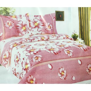 Pink Double bedsheet with pillow covers