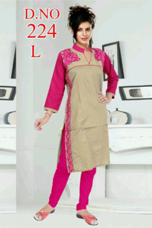 Cotton kurti printed with coller and side