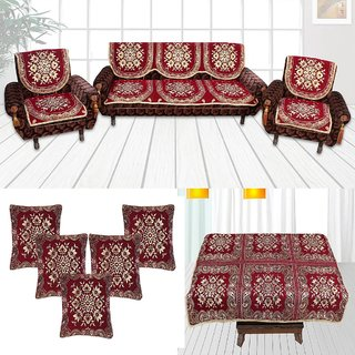 Choco Creation Classic Combo Maroon 5 Seater Sofa covers+ 1 Table cover + 5 Cushion Covers (FZPWSCS3006)
