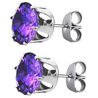 Round Shape AMETHYST Color Zircon Cz .925 Silver Stud Earrings - 0.50 Mm