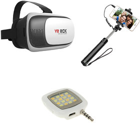 Combo of VR Headset, Selfie Stick and Mobile Flashlight