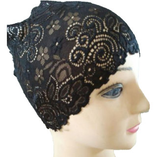 Hijab NET LACE TUBE CAP BLACK Under Scarf Abaya Muslim Inner Islamic Wear Women Bonnet Hair Band Head Cover Burka