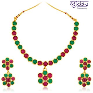 Sukkhi Glimmery Gold Plated Australian Diamond Necklace Set