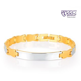 Sukkhi Alluring Gold And Rhodium Plated Bracelet For Men
