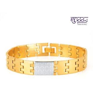 Sukkhi Sleek Gold And Rhodium Plated Bracelet For Men