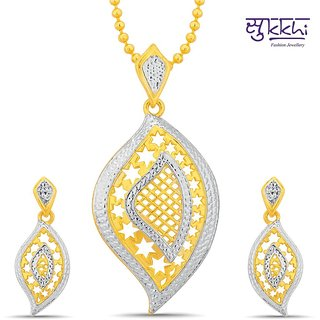 Sukkhi Ravishing Gold And Rhodium Plated Pendant Set With Chain